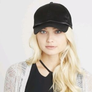 NWT Solid Black Satin Baseball Cap Hat